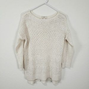 Loft   White Pullover Sweater Size Large
